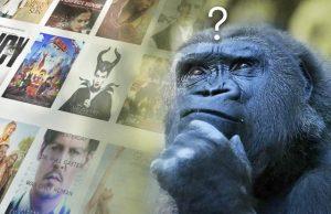 Gorilla wanting a spiritual awakening experience through movies